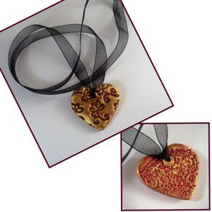Boho Pendant, Heart & Flowers Black Organza Ribbon
